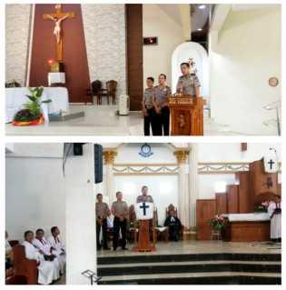 Polres Pelalawan Bina Kamtibmas Pasca Pemilu di Gereja