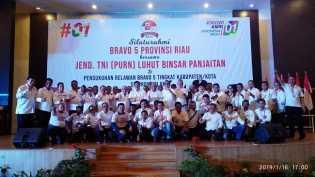 Di Hadapan Luhut, Bravo 5 Siap Menangkan Jokowi-Amin di Riau