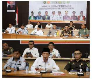 Kesiapan Pemilu, Wabup Pelalawan Vidcon dengan Gubernur