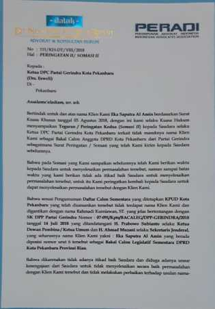 Soal Kangkangi SK DPP, Untuk Kedua Kali Ketua DPC Gerindra Pekanbaru Disomasi Kadernya