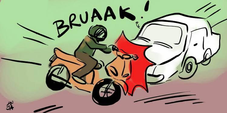 Laka Lantas di Inhil Sepeda Motor VS Mobil Pick Up