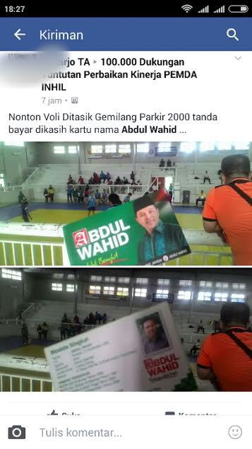 Jadi Viral Kartu Nama Politisi Beredar Pada Even Olahraga Di Inhil