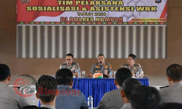 Tim Penilai ZI Internal Polda Riau Sosialisasi dan Asistensi di Polres Kampar
