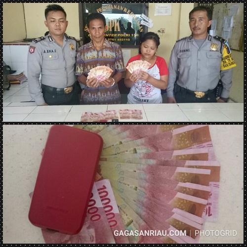 Polres Pelalawan Bekuk 2 Pelaku Pengedar Uang Palsu