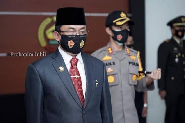 Bupati Wardan Ikuti Upacara HUT TNI Ke-75 TH 2020 Secara Virtual